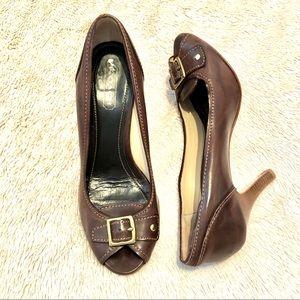 COACH 💯 Leather Buckle Peep Toe  Heel